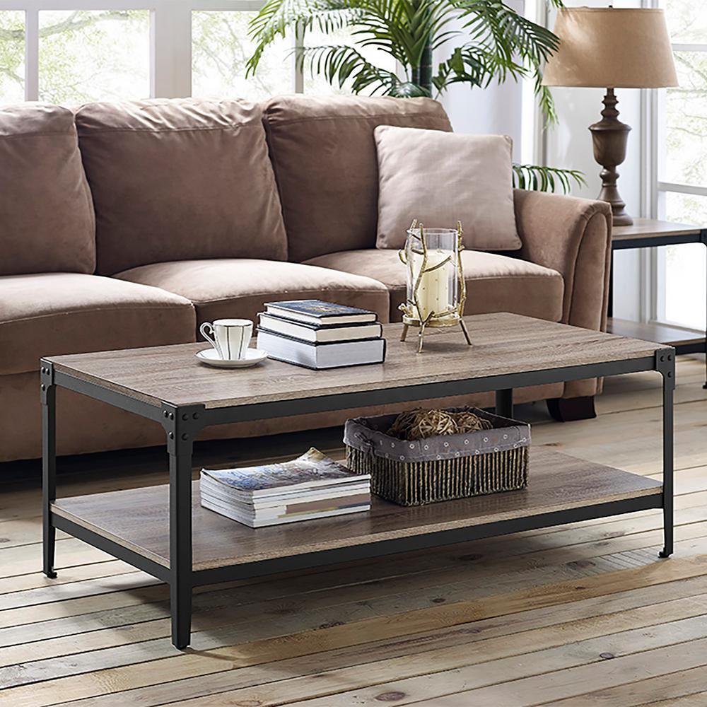 WalkerEdisonFurnitureCompany Walker Edison Furniture Company Angle Iron Driftwood Storage Coffee Table, Brown