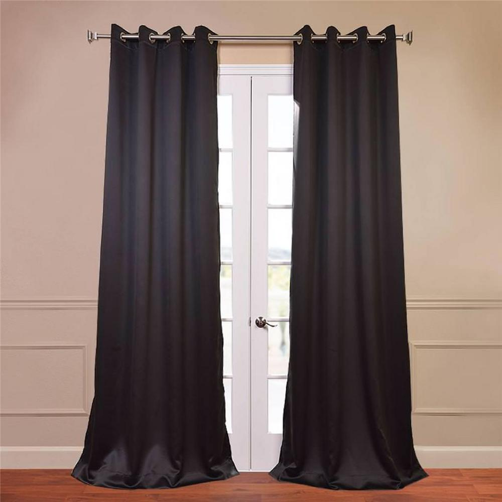 Exclusive Fabrics Jet Black Grommet Thermal Blackout Curtain Panel Pair (96-inch) (Polyester, Solid)