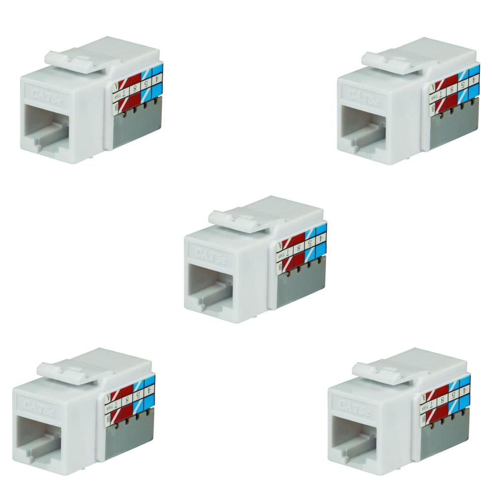 Commercial Electric Category 5e Jack in White (5-Pack)