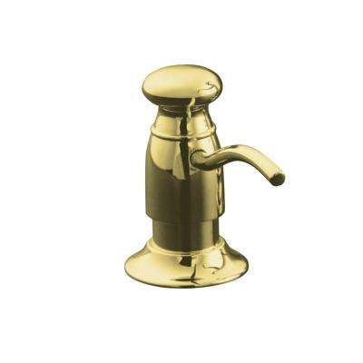 Countertop-Mount Brass and Plastic Soap and Lotion Dispenser in Vibrant Polished Brass