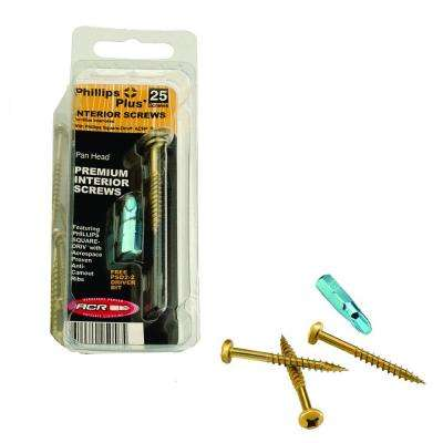 #10 2-1/2 in. Phillips-Square Pan-Head Wood Screws (25-Pack)