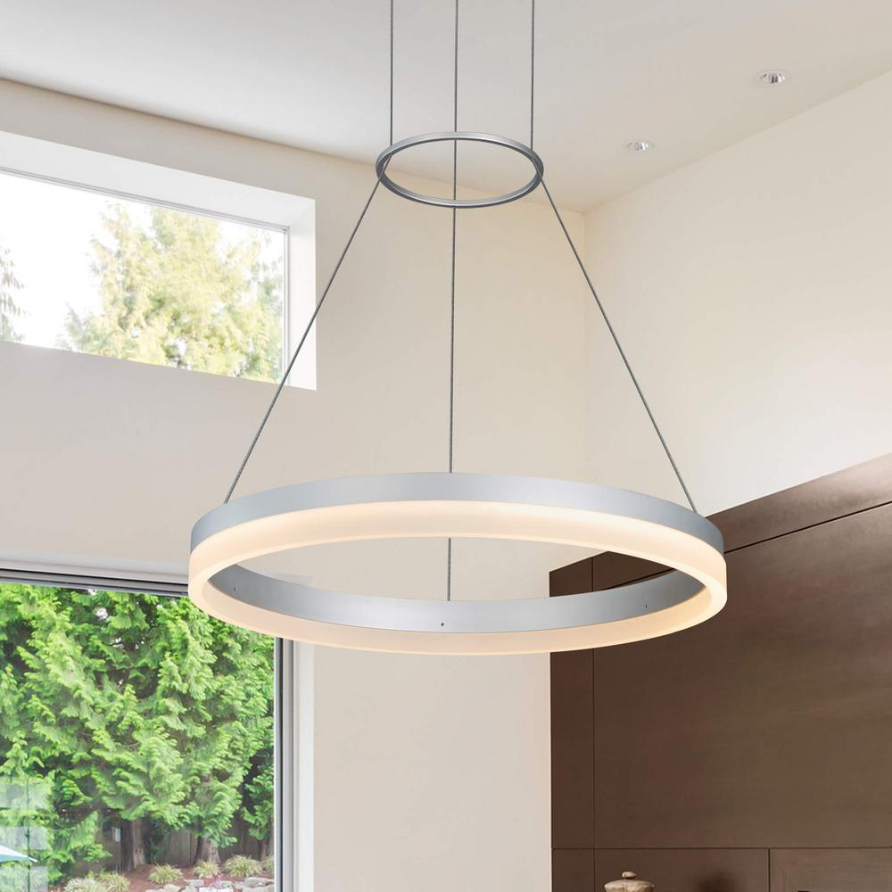 VONN Lighting 30W Tania Collection 18 in. Silver Integrated LED Adjustable Hanging Modern Circular Chandelier