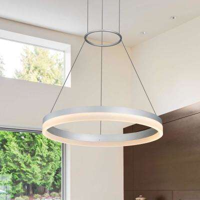 30W Tania Collection 18 in. Silver Integrated LED Adjustable Hanging Modern Circular Chandelier