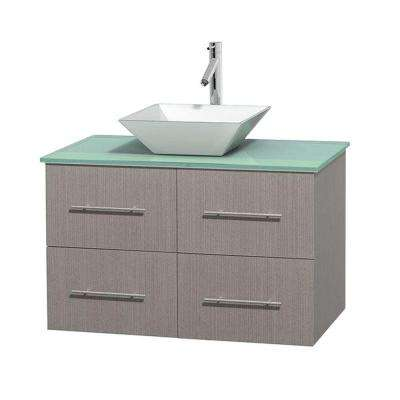 Centra 36 in. Vanity in Gray Oak with Glass Vanity Top in Green and Porcelain Sink