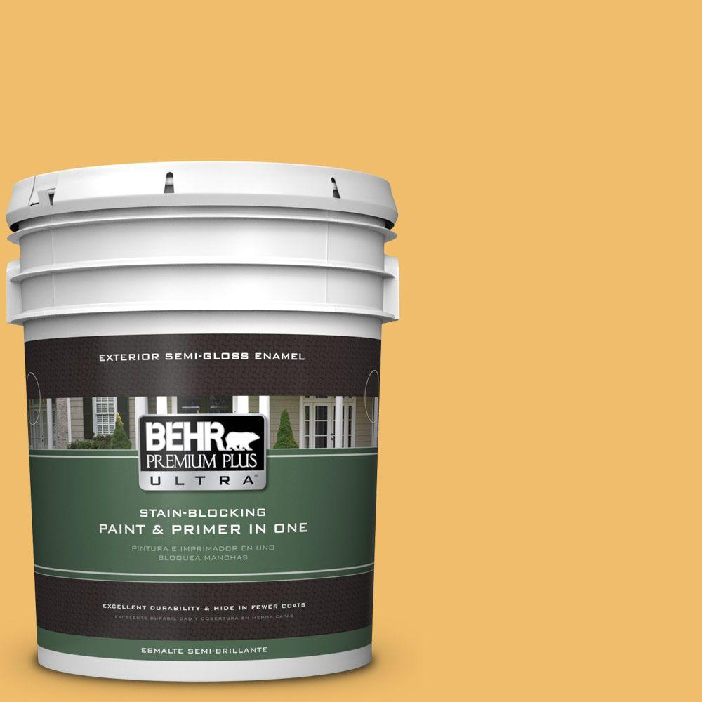 BEHR Premium Plus Ultra Home Decorators Collection 5-gal. #HDC-MD-24 Luscious Lemon Semi-Gloss Enamel Exterior Paint