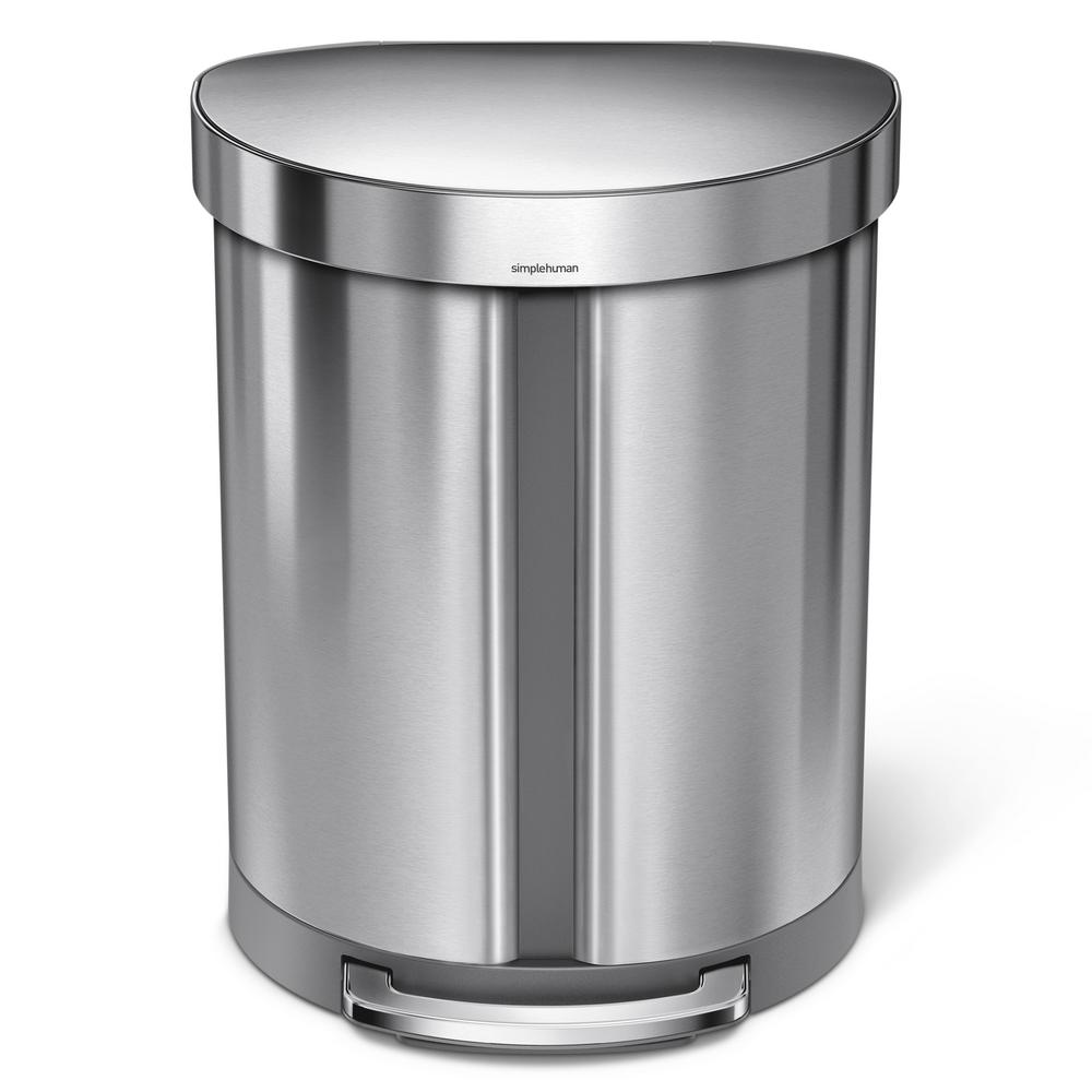 simplehuman 14.5 Gal. Dual Compartment Semi-Round Step Brushed Stainless Steel Trash Can