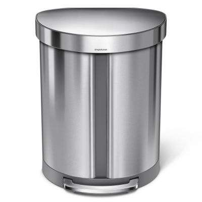 14.5 Gal. Dual Compartment Semi-Round Step Brushed Stainless Steel Trash Can