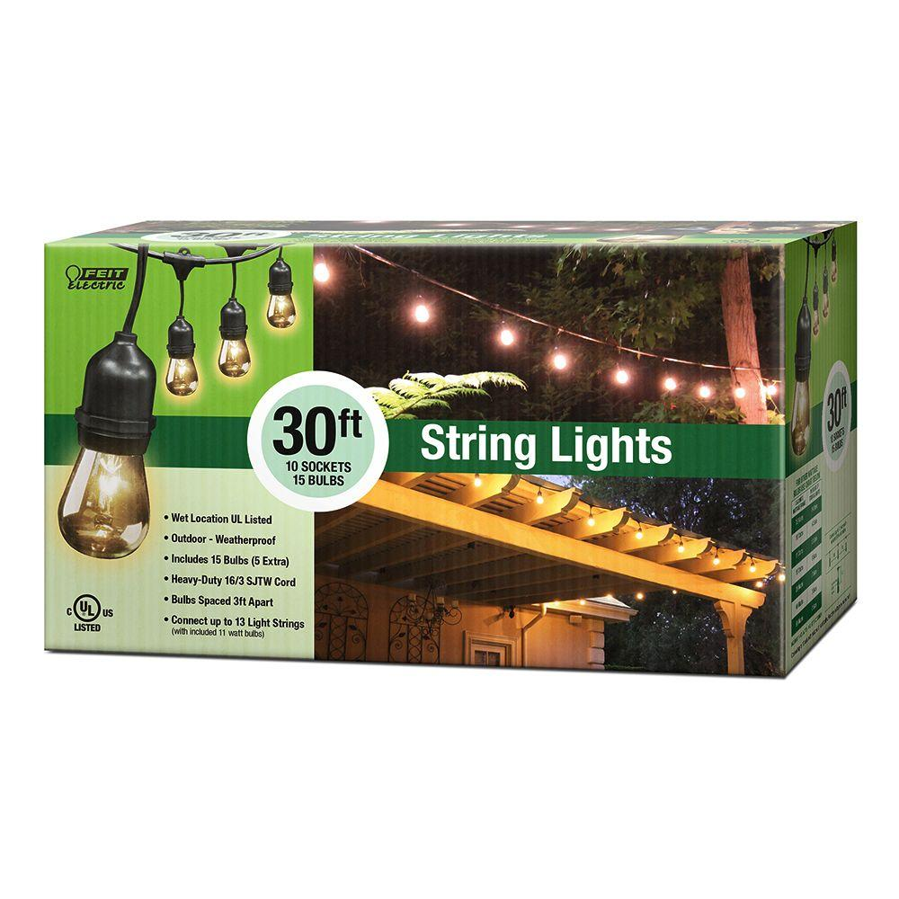Feit Electric 30 ft. 10-Socket Incandescent String Light Set  sc 1 st  The Home Depot & Feit Electric 30 ft. 10-Socket Incandescent String Light Set-72041 ... azcodes.com