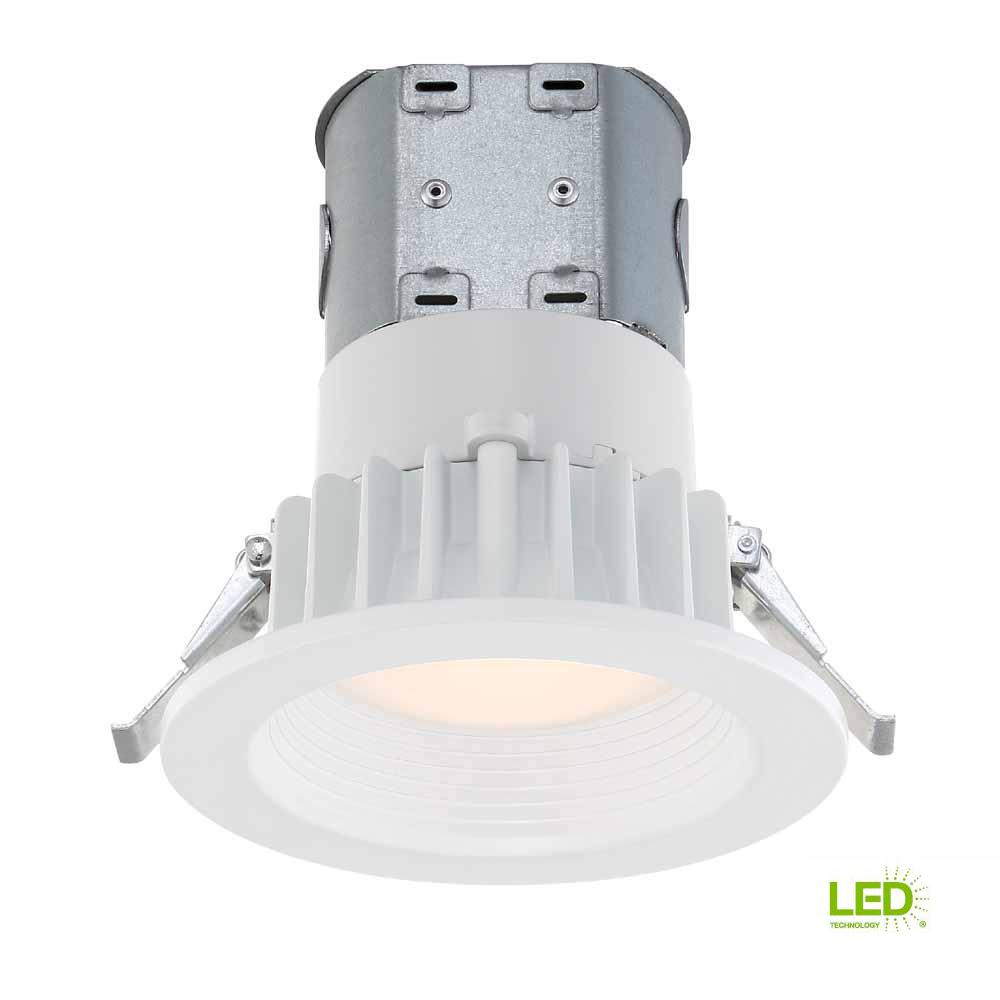 Commercial Electric Easy Up 4 In White Integrated Led