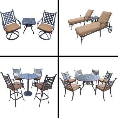 Belmont Premier Black 18-Piece Aluminum Outdoor Dining Set with Sunbrella Brown Cushions