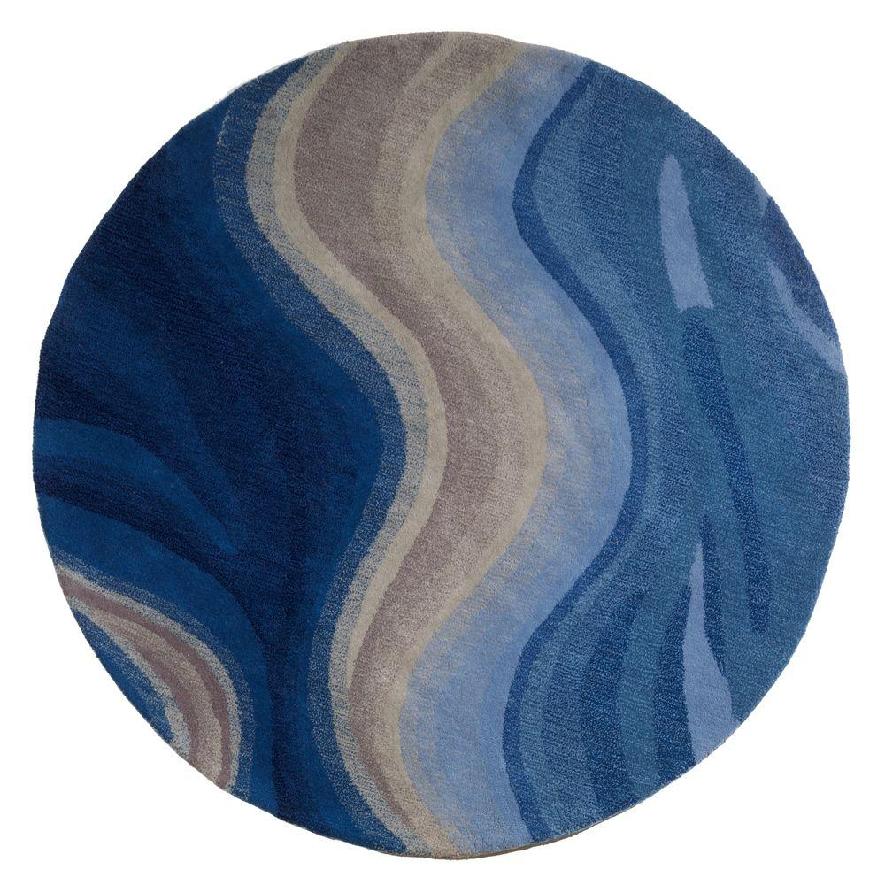 Home Decorators Collection Rush Blue 7 ft. 9 in. Round Area Rug