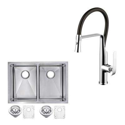 All-in-One Undermount Stainless Steel 29 in. 70/30 Double Bowl Kitchen Sink with Faucet in Chrome Sink Kit