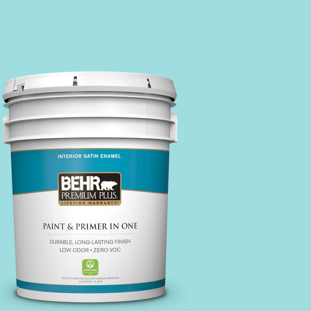 BEHR Premium Plus 5-gal. #P460-2 Tropical Waterfall Satin Enamel Interior Paint
