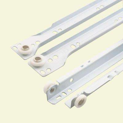 16 in. White Bottom Mount Drawer Slides Set