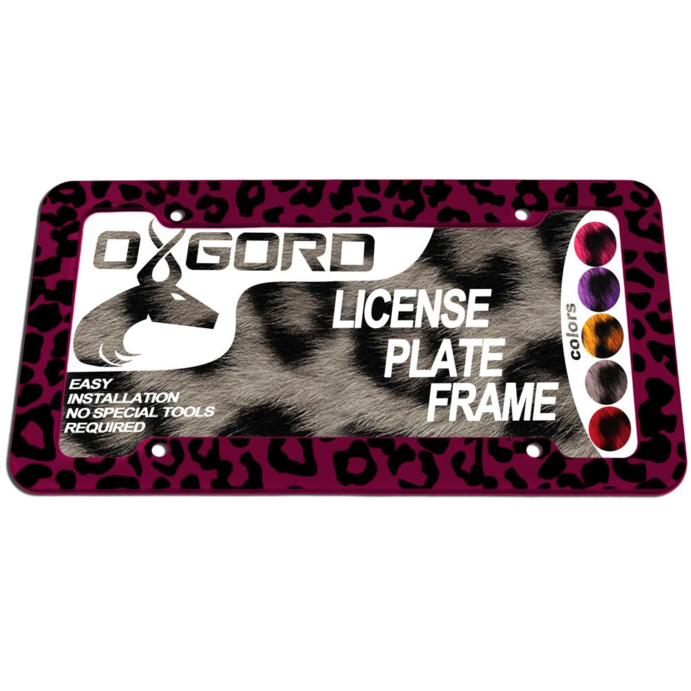 Oxgord Leopard Pink And Black License Plate Frame Lfpl L1 Pk The