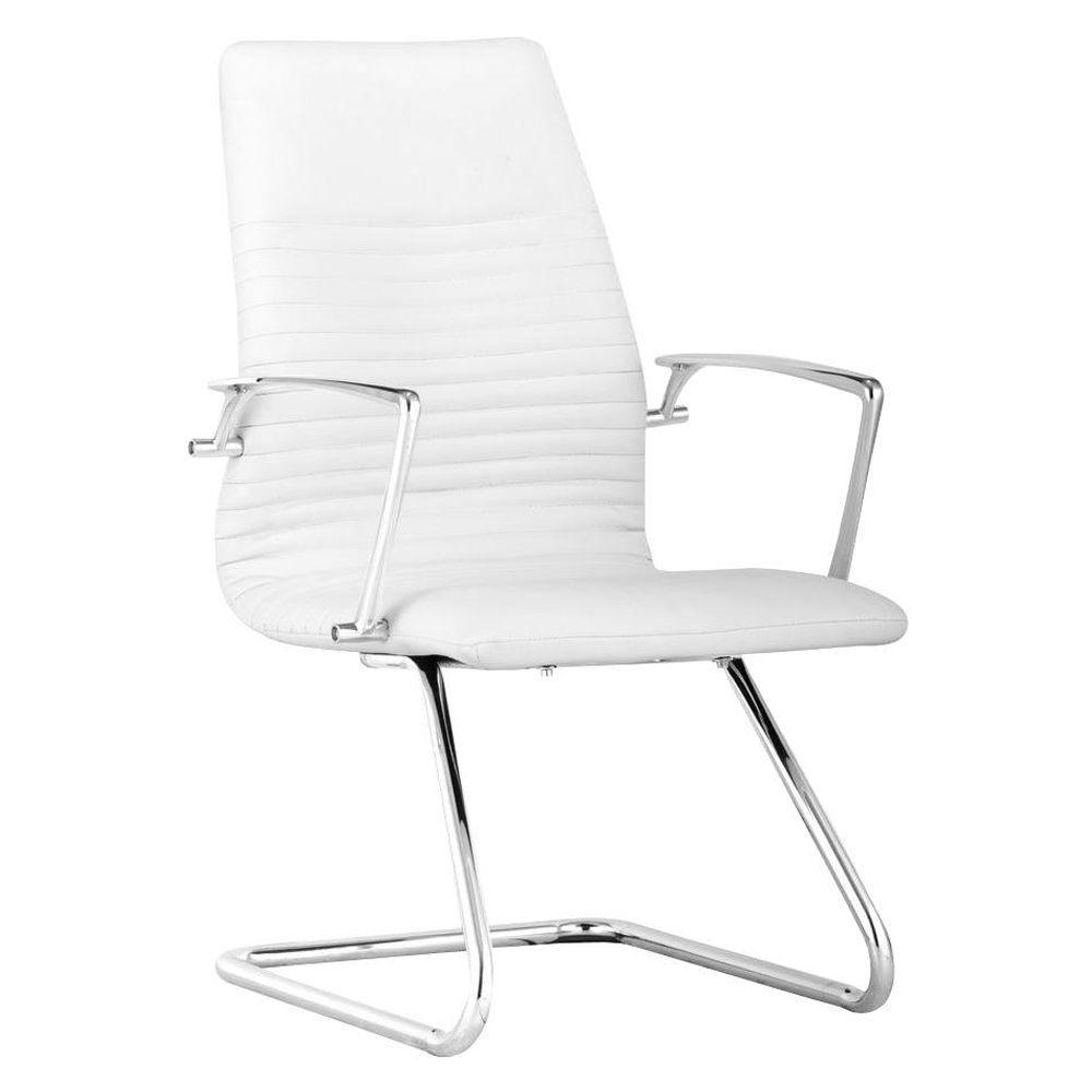 ZUO Lion White Leatherette Conference Chair