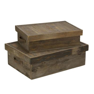 Rectangular Wood Decorative Storage Box with Lid (Set of 2)