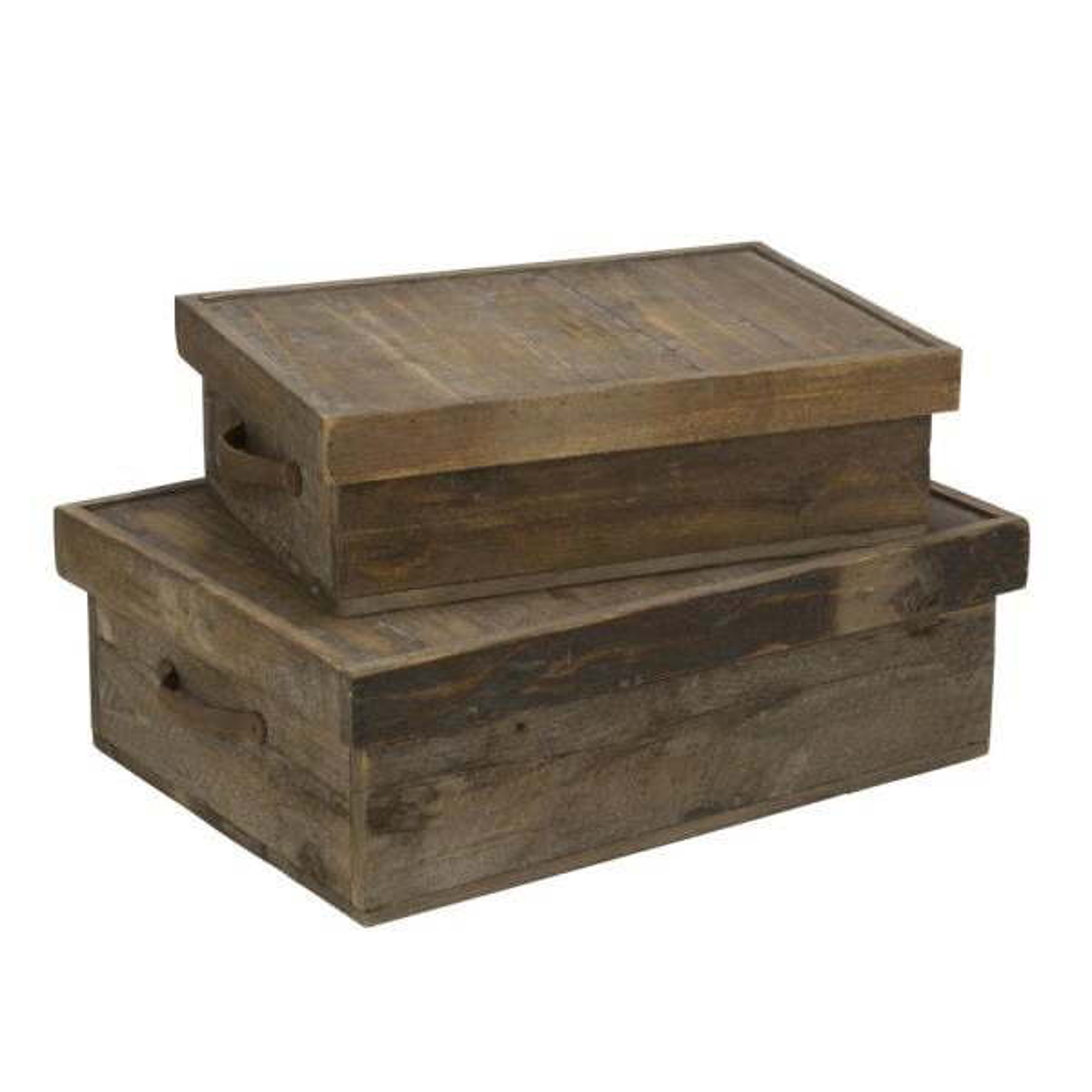 Tripar International Inc Rectangular Wood Decorative Storage Box With Lid Set Of 2