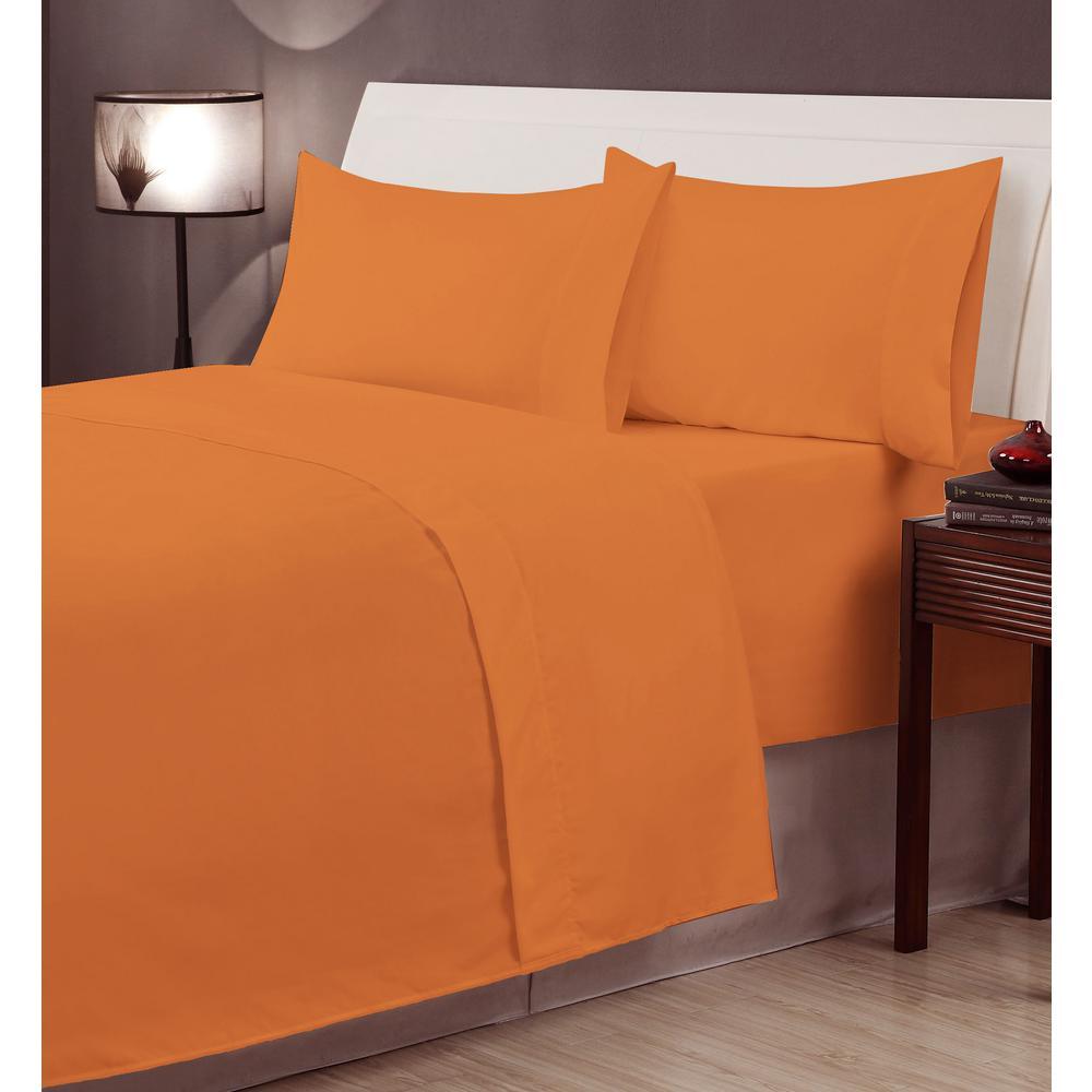 Casual Living Orange Microfiber Twin XL 4-Piece Sheet Set