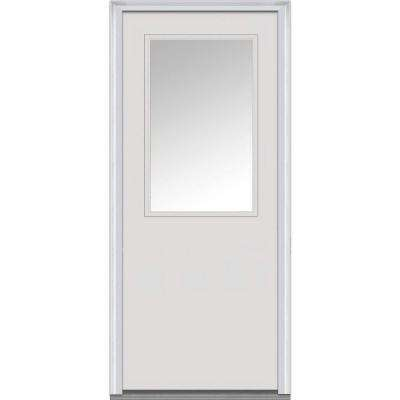 30 in. x 80 in. Left-Hand Inswing 1/2-Lite Clear Classic Flush Primed Fiberglass Smooth Prehung Front Door