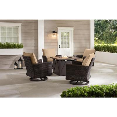 Lakeline 5-Piece Brown Metal Outdoor Patio Fire Pit Swivel Seating Set with Sunbrella Beige Tan Cushions