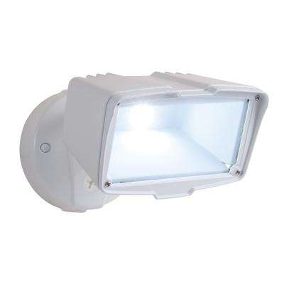 White Outdoor Integrated LED Large-Head Security Flood Light with 1950 Lumens, 5000K Daylight, Switch Controlled