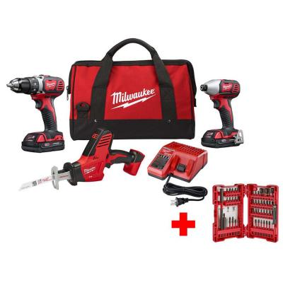 M18 18-Volt Lithium-Ion Cordless Drill Driver/Impact Driver/HACKZALL Combo Kit (3-Tool) with Impact Bit Set (45-Piece)