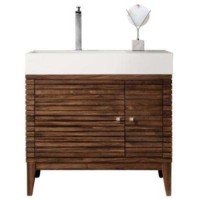 Linear 36 in. W Bath Vanity in Mid-Century Walnut with Solid Surface Single Vanity Top in Matte White with White Basin