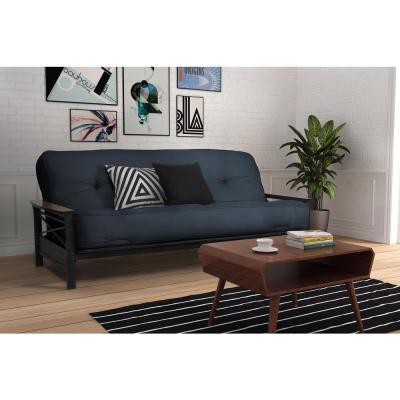 Classic 8 in.  Independently Encased Coil Futon Full Size Mattress Navy with CertiPUR-US Certified Foam