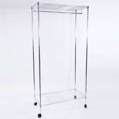 35 in. H x 18 in. W x 71 in. D Silver Double Layer Electroplated Iron Steel Drying Shelf with 2 in. Nylon Wheel
