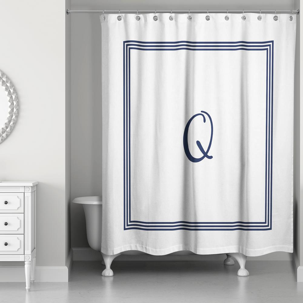 L Navy Blue and White Letter Q