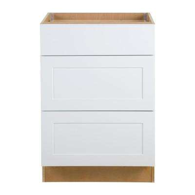 Cambridge Assembled 24x34.5x24.5 in. Base Cabinet with 3-Soft Close Drawers in White