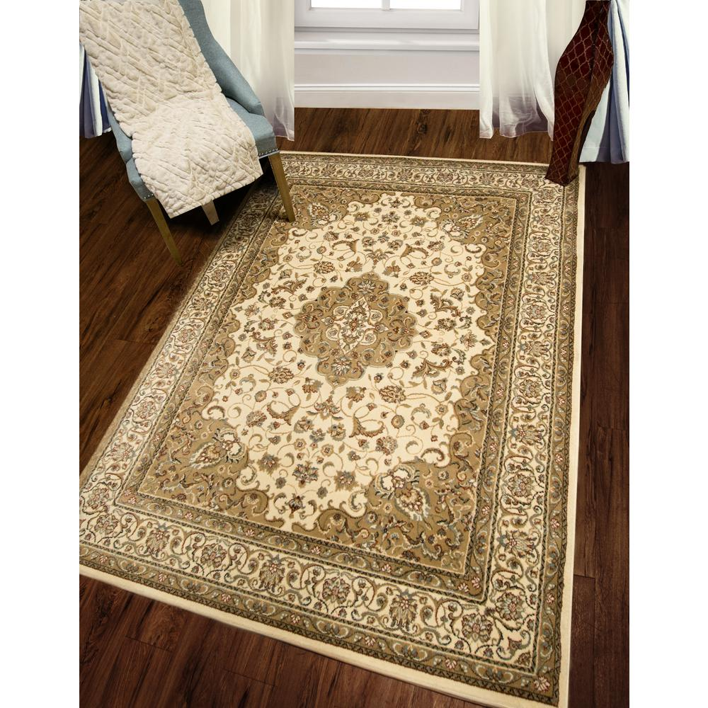 Home Dynamix Bazaar Trim Ivory 5 ft. 2 in. x 7 ft. 2 in. Indoor Area Rug