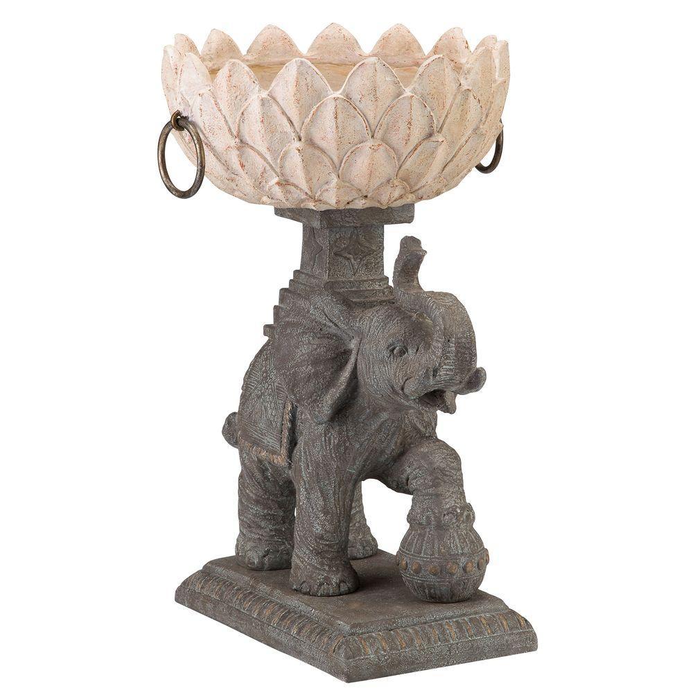 Assam Elephant 15.25 in. W x 23.75 in. H Resin Planter, G...
