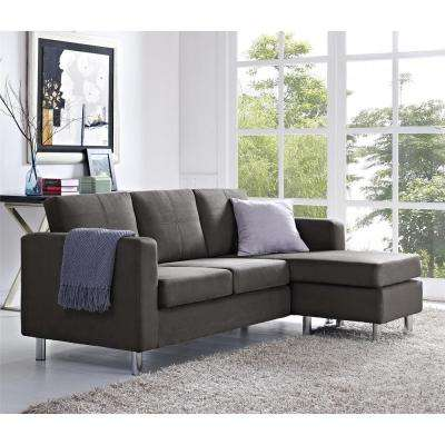 Small Spaces 2-Piece Configurable Gray Sectional Sofa