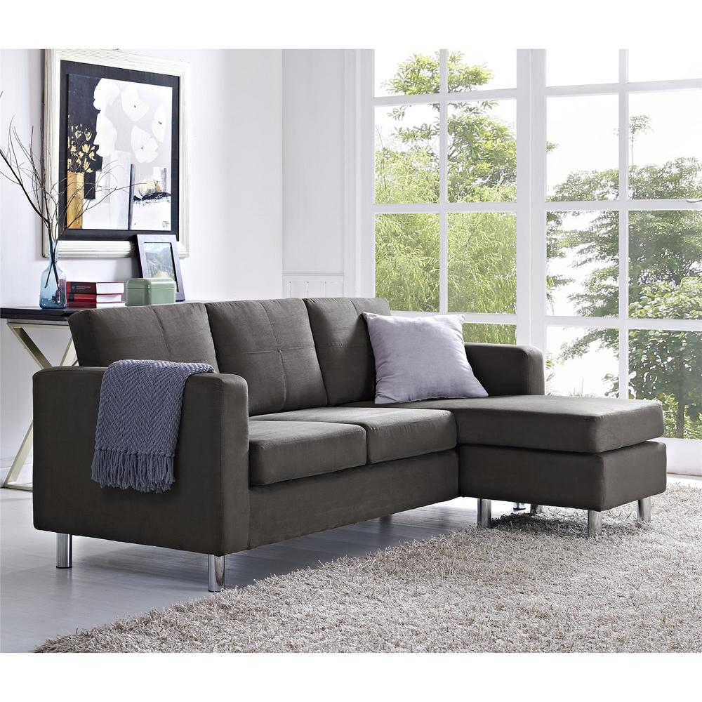 dorel small spaces 2 piece configurable gray sectional sofa fa4054 2gr the home depot. Black Bedroom Furniture Sets. Home Design Ideas