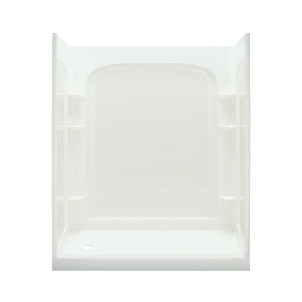 Ensemble Curve 30 in. x 60 in. x 75-3/4 in. Shower Wall and Base Kit with Left-Hand Drain in White