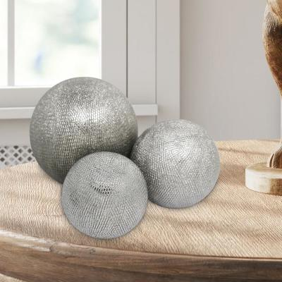 Silver Decorative Ceramic Orbs with Textured Design (Set of 3)