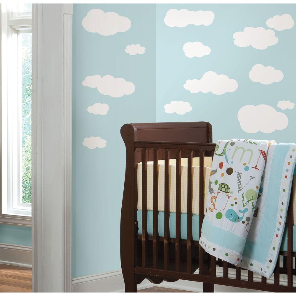 RoomMates In X In Clouds White Bkgnd Piece Peel And - Nursery wall decals home depot