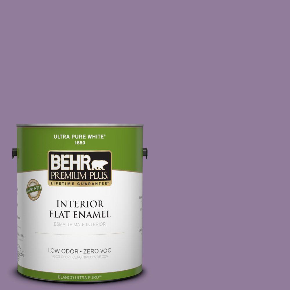 BEHR Premium Plus 1-gal. #660D-5 Wildflower Zero VOC Flat Enamel Interior Paint-DISCONTINUED