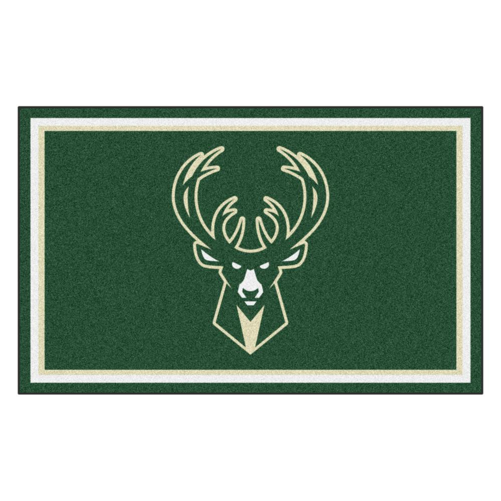 Fanmats Nba Milwaukee Bucks Green 4 Ft X 6 Ft Area Rug