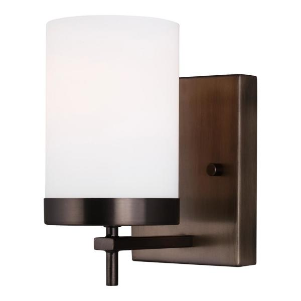 Zire 4.375 in. W 1-Light Brushed Oil Rubbed Bronze Vanity Light with Etched White Glass Shade