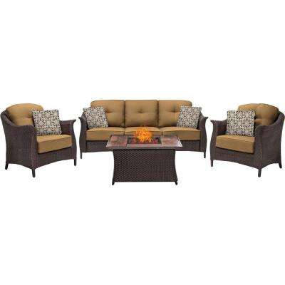 Gramercy 4-Piece Woven Patio Seating Set with Wood Grain-Top Fire Pit and Country Cork Cushions
