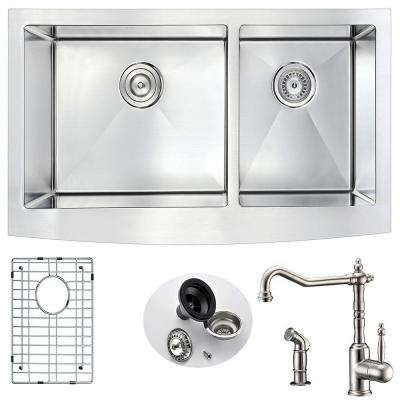 ELYSIAN Farmhouse Stainless Steel 36 in. Double Basin Kitchen Sink and Faucet Set with Locke Faucet in Brushed Nickel