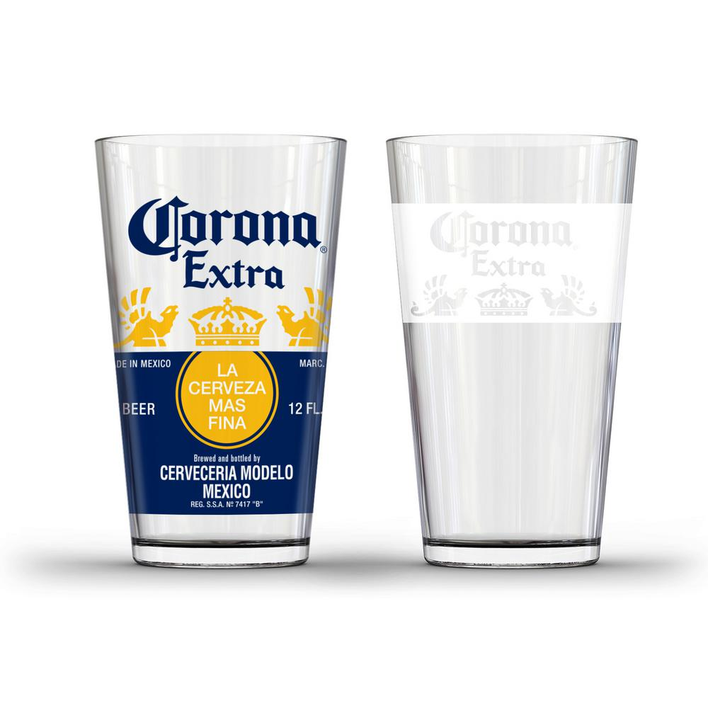 Corona crown and white band pub glass set of 2 gd16141pb for How to make corona glasses