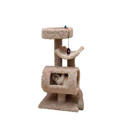 39 in. Beige Play and Sleep Cat Tower