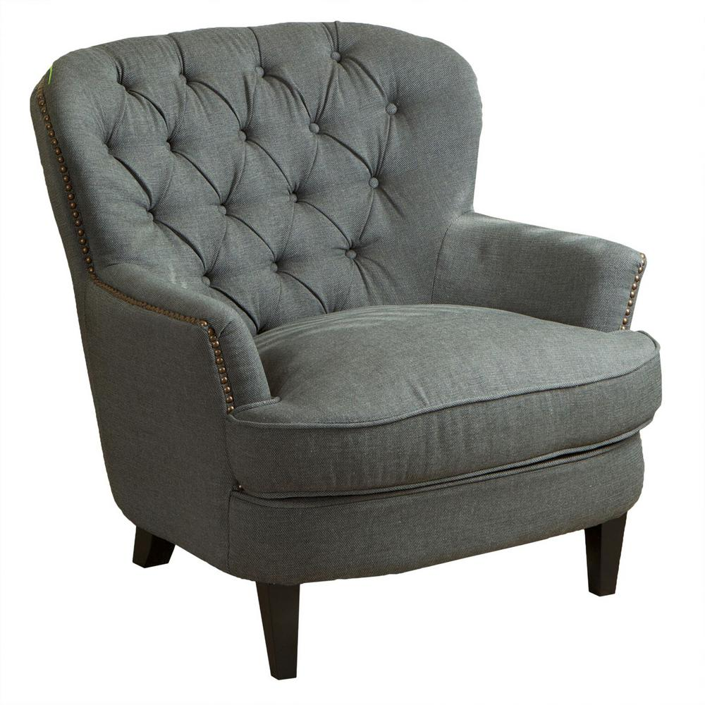 Exceptionnel Noble House Tafton Grey Fabric Tufted Club Chair