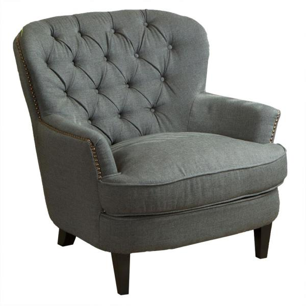 Tafton Grey Fabric Tufted Club Chair