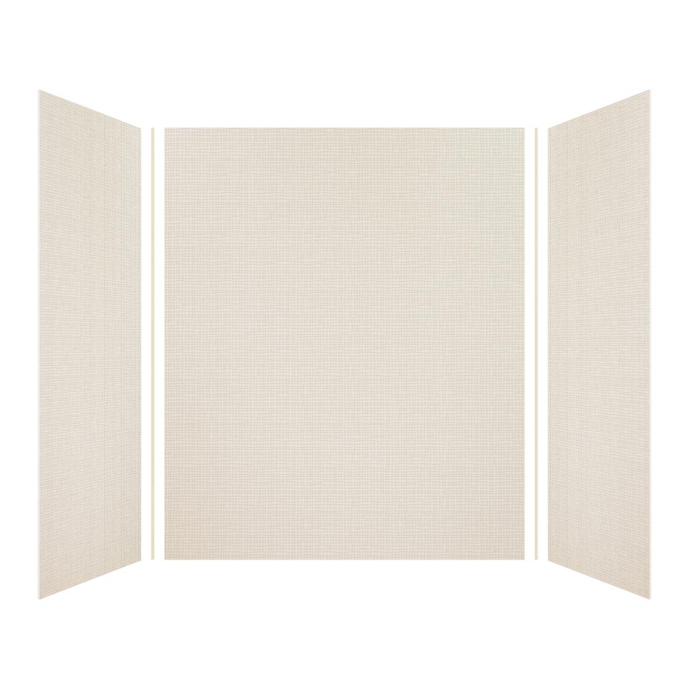 Transolid Expressions 42 in. x 60 in. x 72 in. 3-Piece Easy Up Adhesive Alcove Shower Wall Surround in Cameo