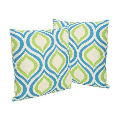 Phuket Ikat Blue and Green Square Outdoor Throw Pillows (Set of 2)